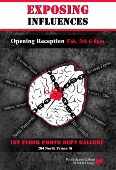 "Flyer for ""Exposed Influences"" where senior photographers had an open display of a peek at their final thesis projects along with inspirational photographers and artists work who we are influenced from."